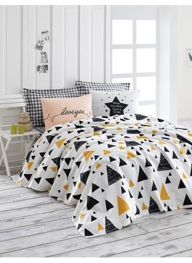 EnLora Home %100 Doğal Pamuk Pike Takımı Çift Kişilik İlove Siyah-Sarı Sarı